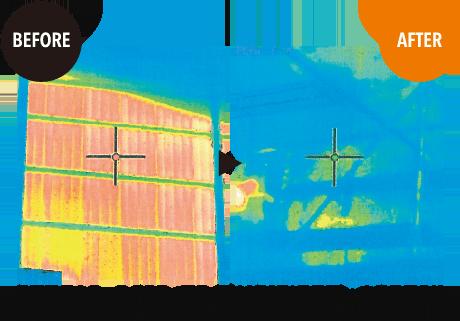 施工前と施工後のサーモグラフィーでの比較